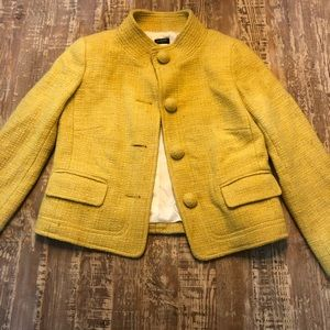 J.Crew Yellow Tweed Button Up Vintage Style Jacket